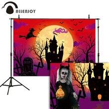 Allenjoy Halloween photo background witch castle tree pumpkin horror treat kids photography backdrop photophone photozone vinyl