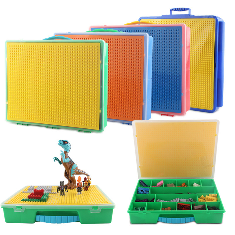 Large Capacity Hand Kids Storage Bucket Box Building Blocks Bricks Adjustable Kids Toys For Children Compatible Blocks Friends
