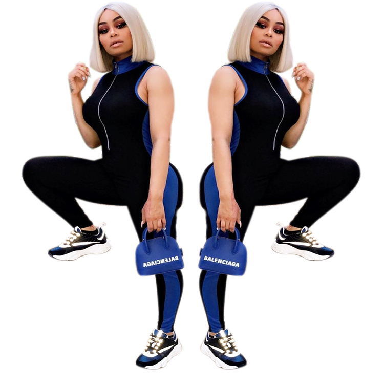 1005 Hot Selling 2018 New Style Europe And America Assembled Sleeveless Women's Onesie