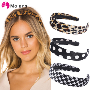 Image 1 - Molans New Leopard Velvet Hairbands Fashion Bats Dot Leopard Printed Geometric Headbands for Women Soft Flimsy Wide Hairband