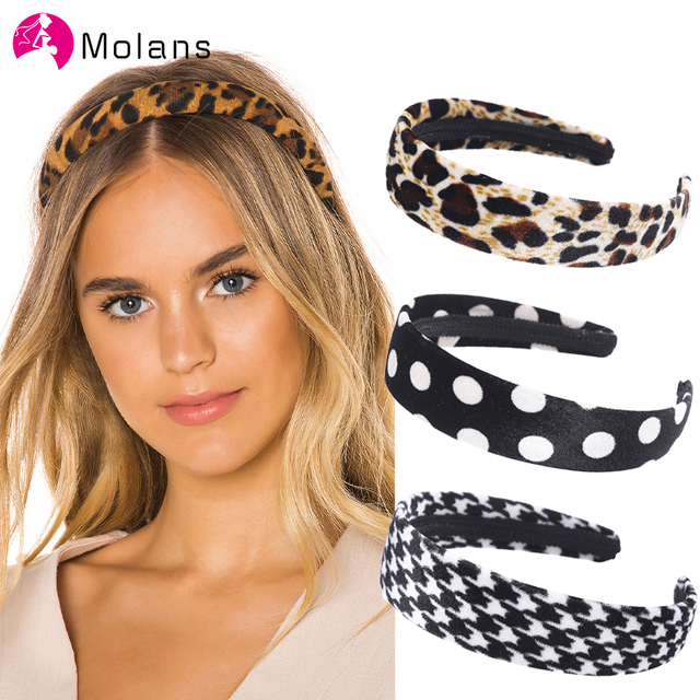 Molans New Leopard Velvet Hairbands Fashion Bats Dot Leopard Printed Geometric Headbands for Women Soft Flimsy Wide Hairband
