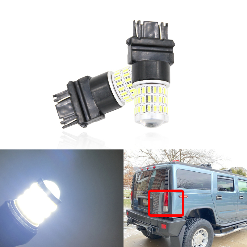 2x Fits For Hummer H2 2003-2009 Projector Led Backup Reverse Light Bulbs T25 3157 3157-SCK 4114KLCP Auto Lamp