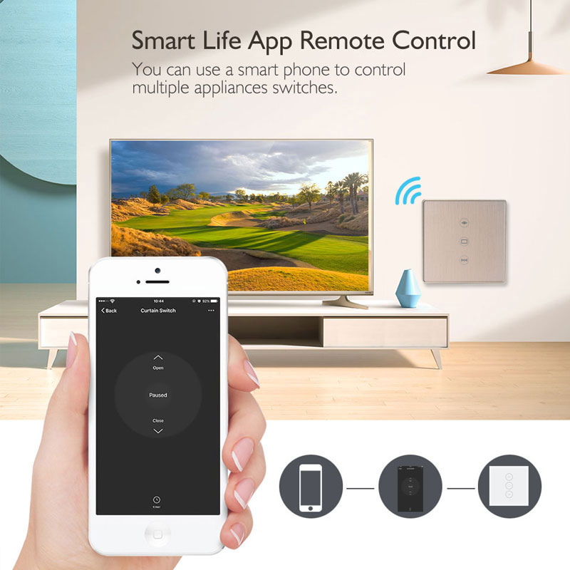 Smart Life Tuya WiFi Curtain Switch for Electric Motorized Curtain Blind Roller Shutter with Alexa&Google home automation Silver