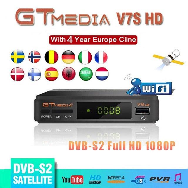 Tây Ban Nha Giao hàng Vệ Tinh TRUYỀN HÌNH Gtmedia V7S HD Thụ Thể Hỗ Trợ Châu Âu Cline cho DVB S2 Youtube FULL HD 1080P Freesat v7 HD