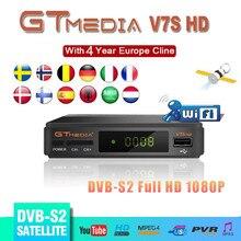 İspanya teslimat uydu TV alıcısı Gtmedia V7S HD reseptör desteği avrupa Cline için DVB S2 youtube FULL HD 1080P Freesat V7 HD