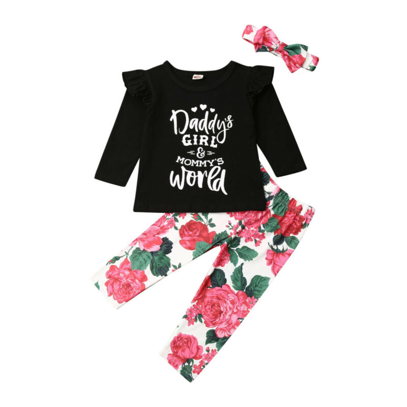 Baby Girl Outfits Clothes 2020 New Fashion Newborn Baby Girl Tops Floral Pants Headband Baby Clothing