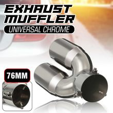 Universal Car Dual Exhaust Tip Exhaust Pipe 76mm Inlet 66mm Outlet Tail Muffler Rear Tube(China)