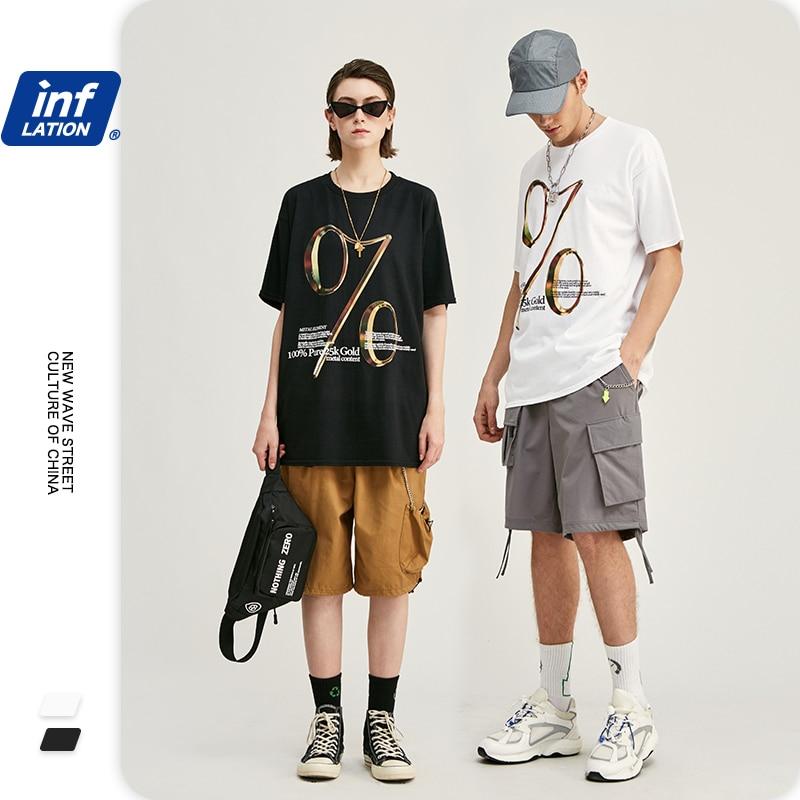 INFLATION Streetwear Camiseta Hombre Men Tee Shirt Homme 100% Cotton Men T Shirt Loose Fit Hip Hop  Harajuku T-shirt 1205S20
