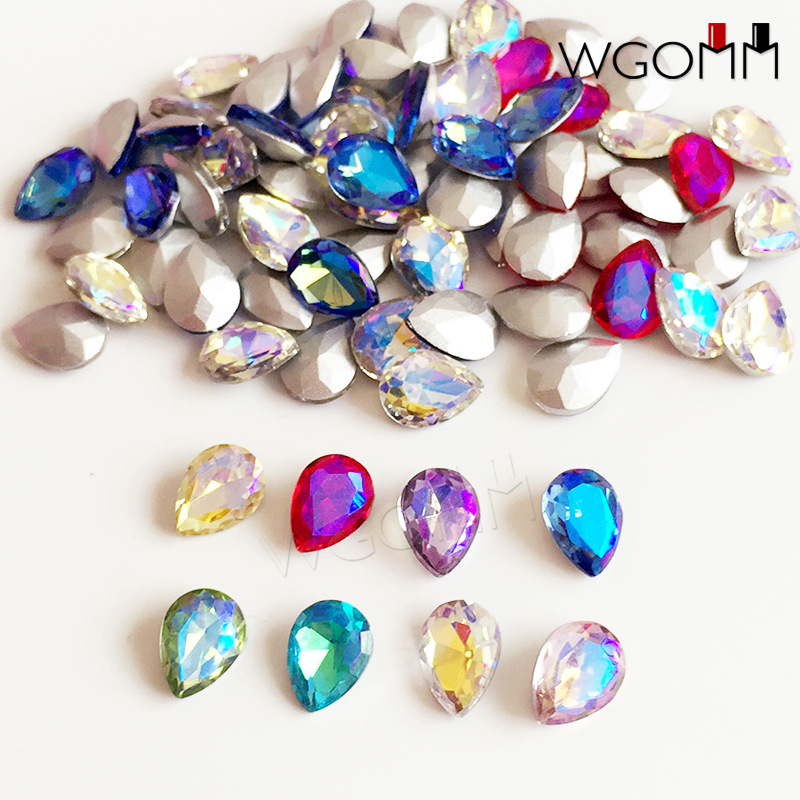 South Korea Synchronous AB Colorful Blueray Symphony Drilling Water Droplet Heterosexual Drilling Japanese-style Nail Ornament N
