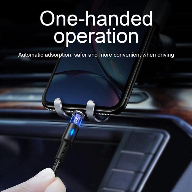 Cabo usb magnético para iphone, cabo de carregamento rápido para iphone 11, 7, 8, plus, xr, x, xs, max cabo de cabo de telemóvel 5