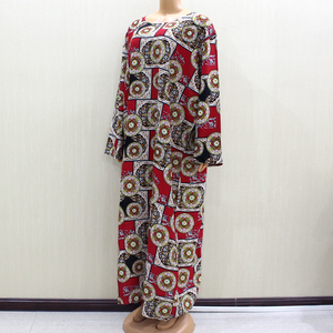 Image 4 - 2020 African Fashion Design New Arrival Red Print Cotton Material O Neck Long Sleeve Long Dess African Casual Dresses For Women