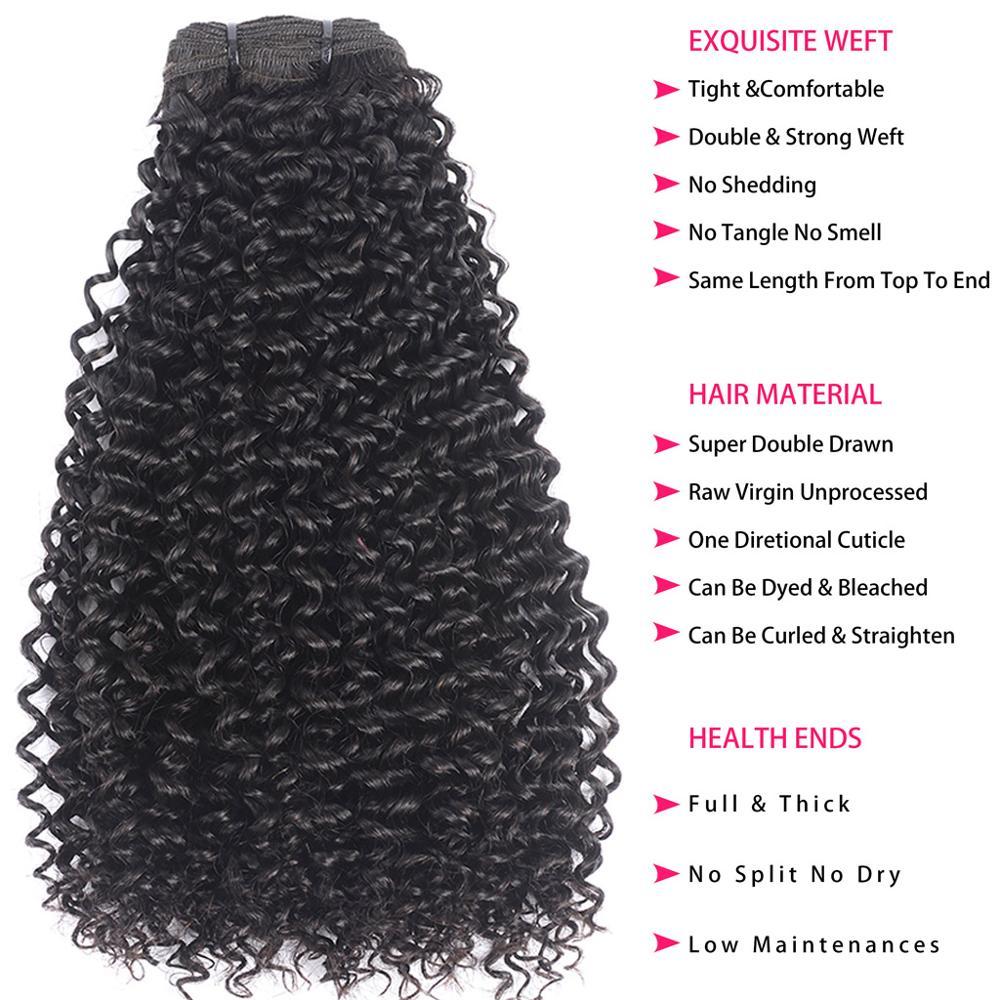 3 4 paquets brésiliens d'armure de cheveux empaquettent la couleur naturelle dessinée par Double de Megalook de cheveux de vierge - 5