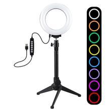 PULUZ 4.7/6,2 zoll 10 Modi RGBW Dimmbare LED Selfie Ring Licht Fotografie Video Licht & Licht Stehen Für youTube Video Vlogging