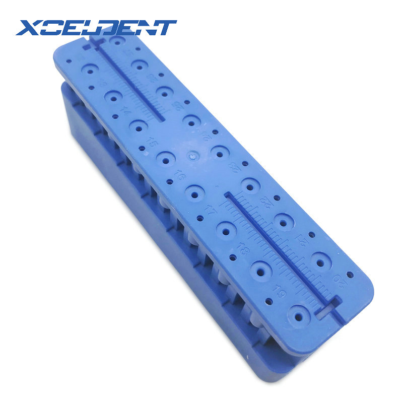 1PCS Plastic Dental Mini Endo Measuring Autoclavable Endodontic Block Files Dentist Instrument Ruler Blue