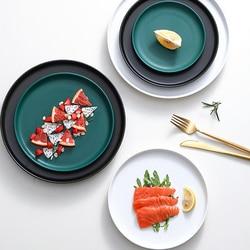 Lekoch ceramiczne płytkie talerze płyta wołowa zastawa stołowa okrągłe jednokolorowe danie deserowe proste i kreatywne nóż do sałatek w Naczynia i talerze od Dom i ogród na