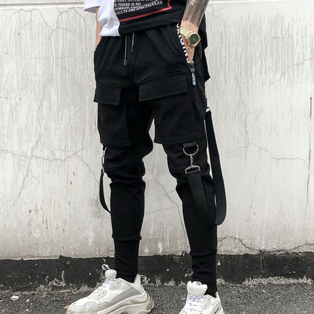 Pockets Pencil Pants Mens Hip Hop Patchwork Cargo Ripped Sweatpants Joggers Trousers Male Fashion Full Length Pants