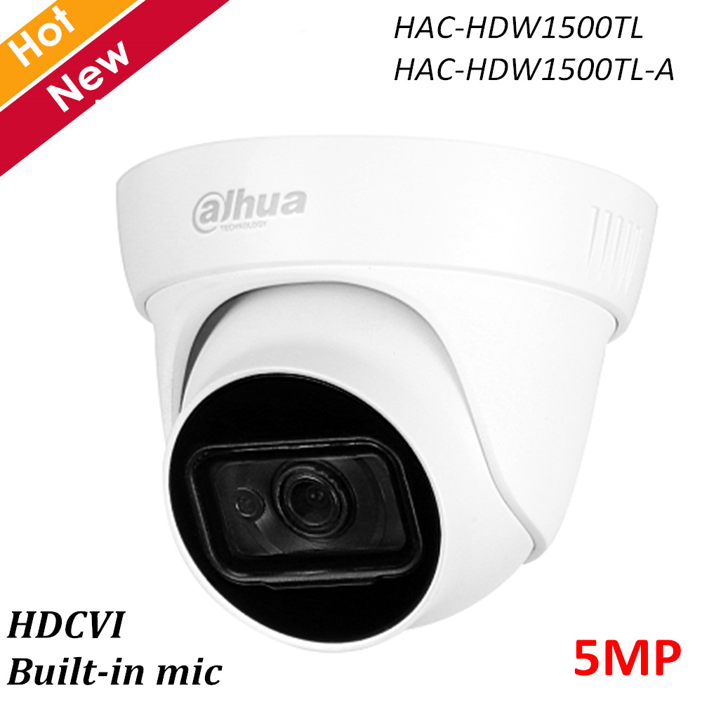 Dahua 5MP HDCVI IR Eyeball Camera Built-in MIC Smart IR 30m Waterproof IP67 HAC-HDW1500TL HAC-HDW1500TL-A DC12V