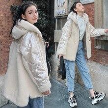 Пальто на утином пуху с гранулой овечьей стрижкой, короткое, средней длины, для женщин, зима, стиль, берберский флис, пуховая куртка