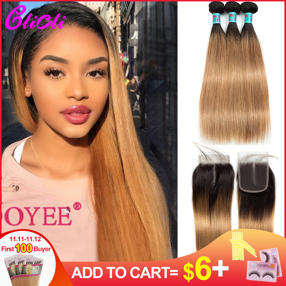 1B 27 Ombre Hair Bundles With Closure Straight Dark Roots Brown 3 Bundles With 4x4 Lace Closure Brazilian Human Hair Weaves