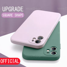 New Square Liquid Silicone Case For iPhone 11 Pro Max XS X XR Soft Original Solid Color Cover For iPhone SE 2 2020 7 8 Plus 6 6S