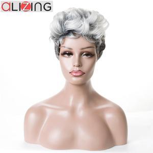 Alizing pelucas sintéticas cortas onduladas ombré plateado Color gris pelo de fibra de alta temperatura para Mujeres Negras/blancas