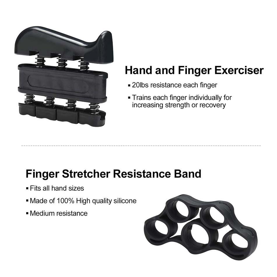 REXCHI 5PC / Set Gym Fitness regulējams roku satvērēju komplekts Pirkstu apakšdelma stiprums Muskuļu atjaunošana Smago roku satvērēju trenažieris