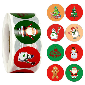 500pcs Merry Christmas Stickers Christmas Tree Elk Candy Bag Sealing Sticker Christmas Gifts Box Labels Decorations New Year image