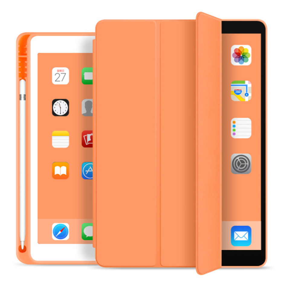 for iPad 7th orange Orange For iPad 10 2 7th Generation Case with Pencil Holder for iPad 2019 10 2 Slim