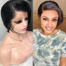 Short Pixie Cut Wig Human Hair Straight Transparent Lace Front Wig Bob Brazilian Remy Human Hair Wigs For Women Pre Plucked