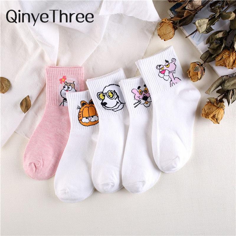 Japanese Kawaii Women Animals Cartoon Tube Socks Cute Egg Rabbit Panther Cotton Long Socks Female and Ladies Pink Milk White Sox