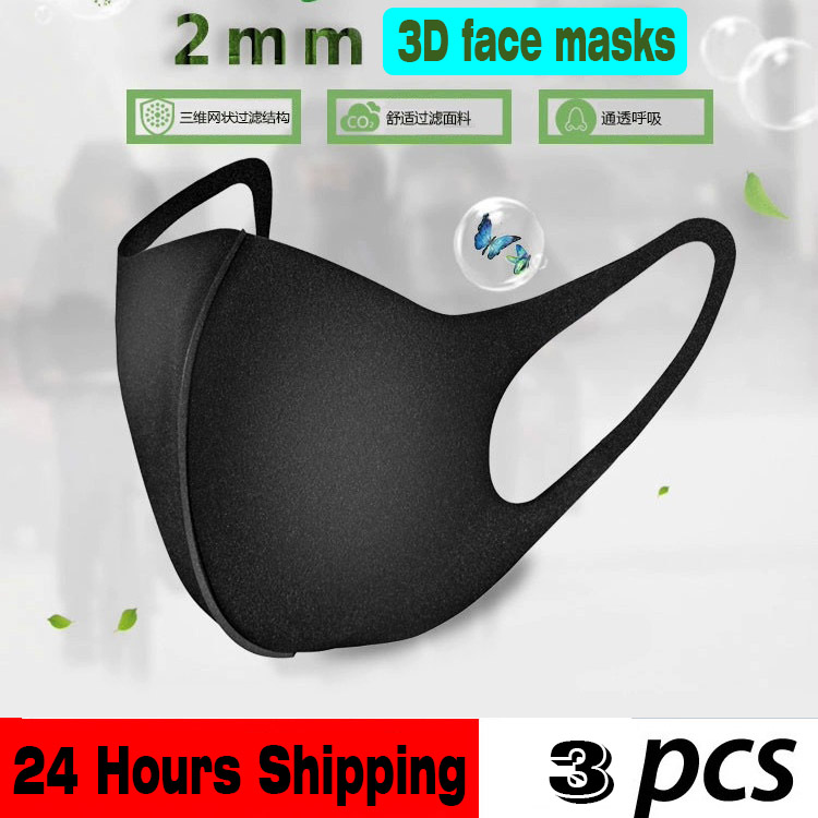 Black 3D Face Protective Masks 3-Ply Nonwoven Soft Breathable Anti Influenza PM 2.5 Dust Safety Mask Same Style With Stars Masks