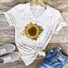 Harajuku mode graphique t-shirts femmes couleur Cactus soleil fleur T-shirt pour femmes coupe ajustée mignon fille t-shirts & hauts
