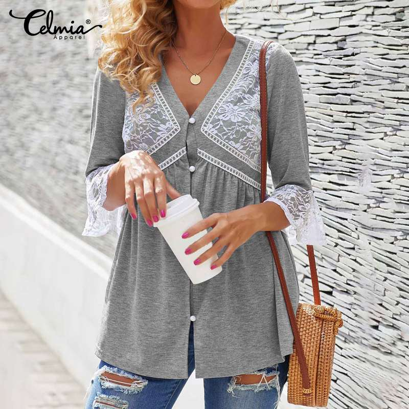 Celmia Women Fashion Blouses Summer 3/4 Flare Sleeve Casual Lace Shirts Loose Vintage Office Tunic Tops Plus Size Blusas Mujer