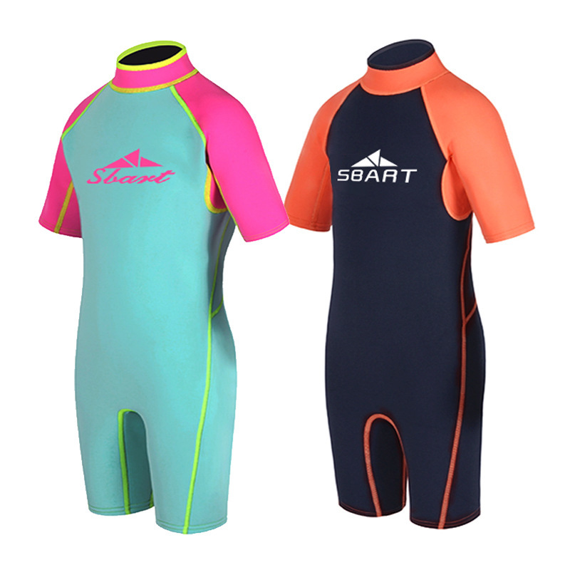 Children Sun-resistant Short Sleeve Snorkeling Suit Girls BOY'S Siamese Swimsuit Big Boy Swimwear Quick-Dry Diving Suit
