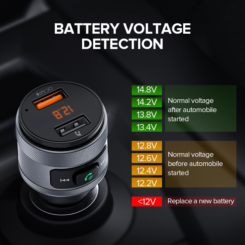 Image 5 - Ugreen USB Car Charger Bluetooth FM Transmitter QC Quick 3.0 Charge Fast Charger for Xiaomi Samsung iPhone Huawei QC3.0 Charger-in Car Chargers from Cellphones & Telecommunications