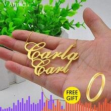 """2.4 """"özel büyük bildirimi kolye kişiselleştirilmiş çift isimleri kolye kolye Hip Hop takı kutusu zincir tabela gerdanlık hediye"""
