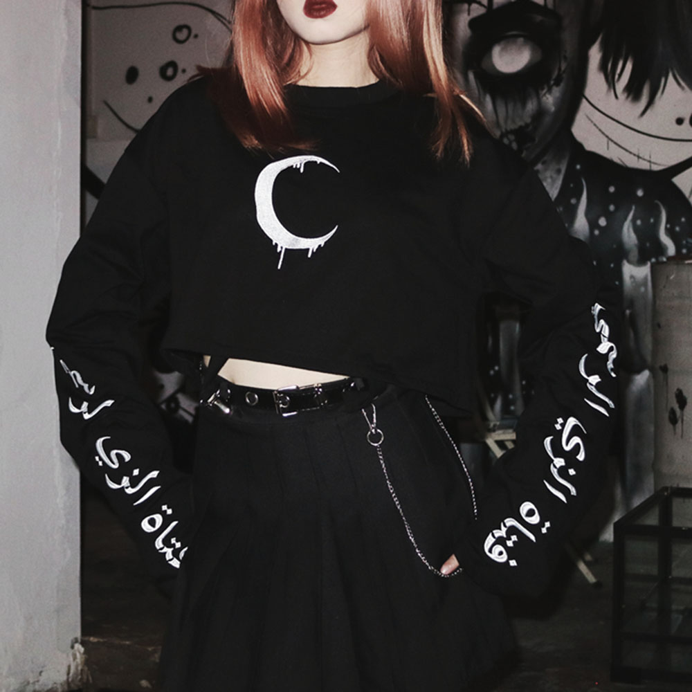 Rosetic Women Hoodie Sexy Short Hooded Black Moon Print Female Women Long Sleeve Loose Short Paragraph Street Strap Clip Waist