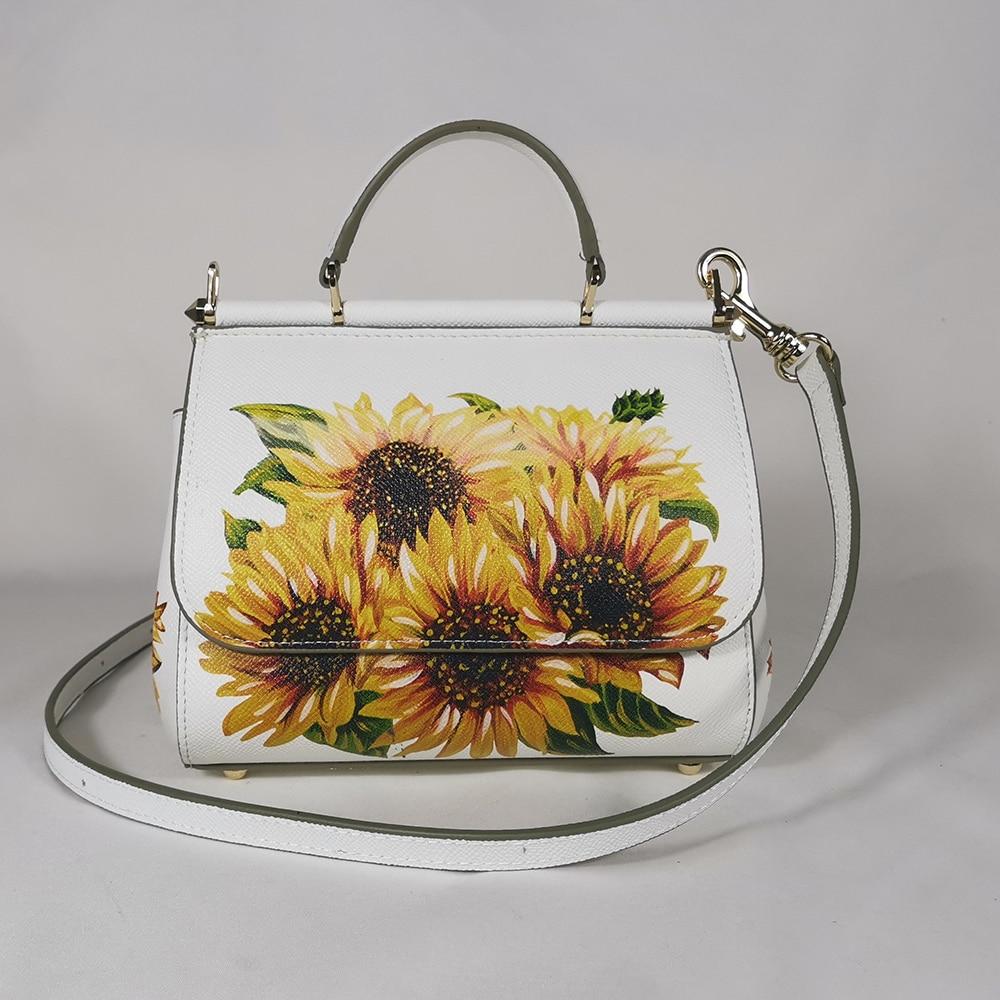 Women's Handbags Women's Shoulder Bags Handbags Leather Women's Messenger Brand Designer Bottle Sunflower White