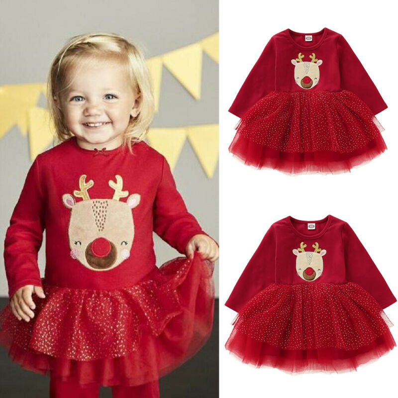 Toddler Kids Baby Girls Tutu Princess Christmas Costume Outfits Clothes Dress