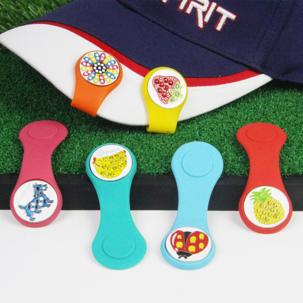 Magnetic Golf Ball Marker Golf Hat Cap Clip Novelty Fruit Pattern Golf Gift For Women Lady Kids -Multiple Colors