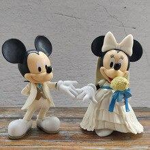 12 см Дисней белое свадебное платье Микки Маус Минни Принцесса фигурку куклы модель дети подарок на день рождения 2 шт./компл.