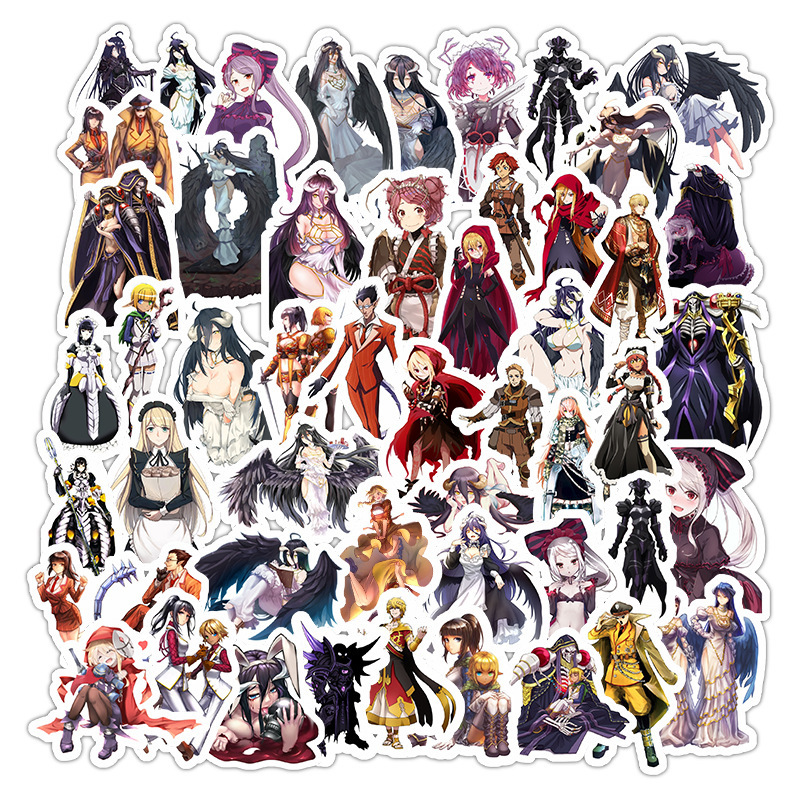 50Pcs Vintage Anime Overlord Retro Stickers For Home Living Room Decoration Kraft  Stickers Painting Stickers Decals
