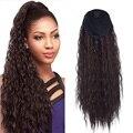 Extensões de cabelo resistentes ao calor do rabo de cavalo do cordão do cabelo encaracolado kinky afro sintético com dois pentes plásticos