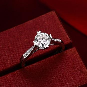 Sterling Silver Moissanite Zircon Engagement Ring  1