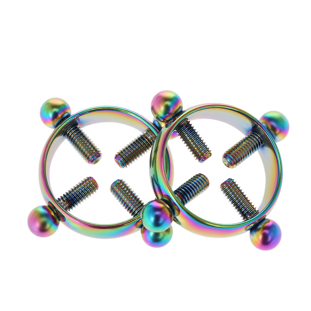 1 Pair Non-Piercing Circle Nipple Clamps Sex Toys For Women Adjustable Nipple Rings With Screws Body Decor Stainless Steel