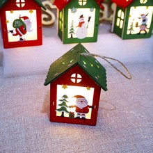 Colorful Small Wooden House With Lights Hanging Ornament Christmas Decoration