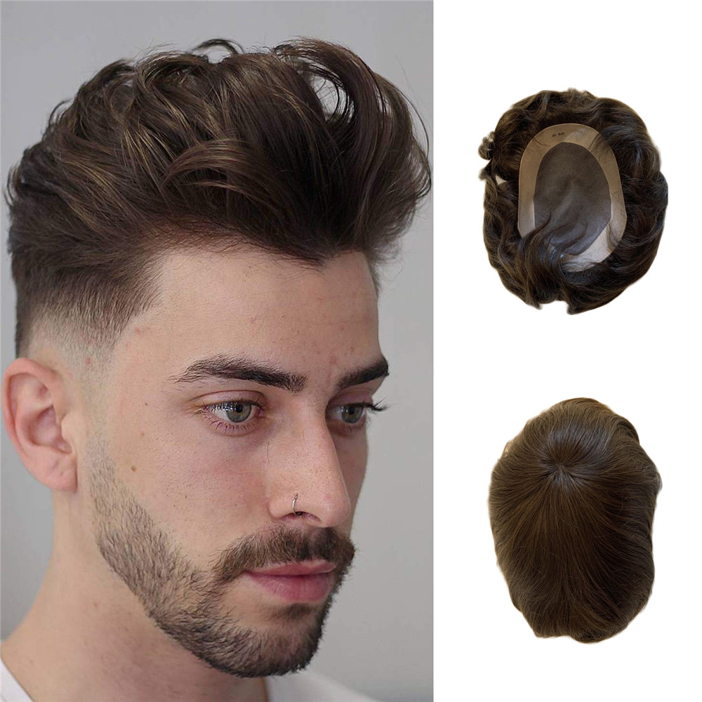 BYMC Hair Replacement Systems Mono Lace NPU Indian Remy Hair Toupee Mens Hair Piece Wig