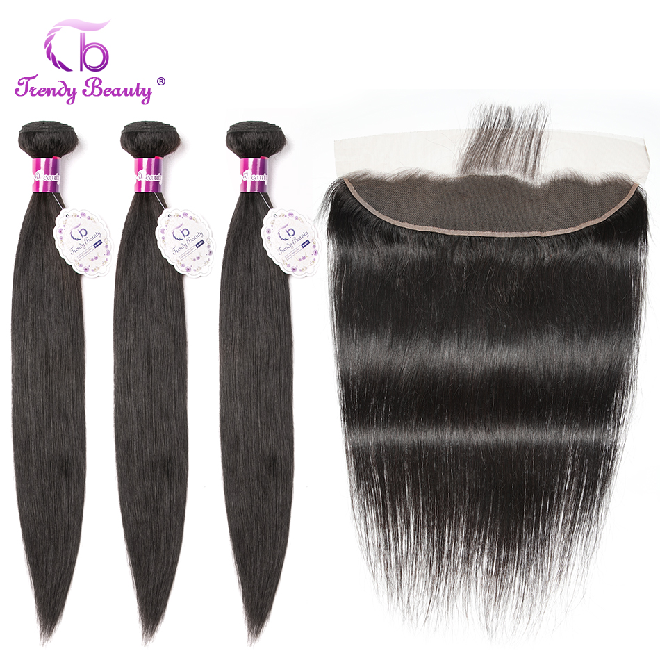 Trendy Beauty Brazilian Straight Hair 3 Bundles With Lace Frontal Color 1B Non-Remy 100% Human Hair Bundles With Frontal