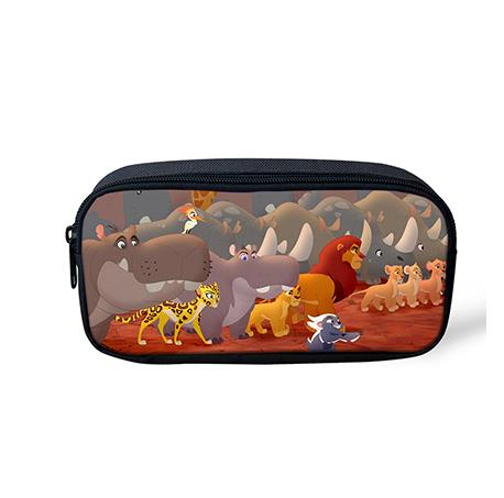 Hot The Lion Guard Cartoon Pencil Bag Polyester 3D Printing Stationary Bag Students Pen Pouch Holder Kawaii Roll School Pencase