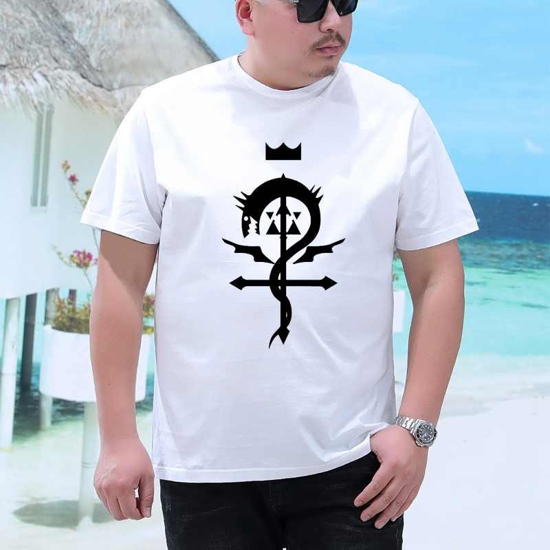 Grande tamanho completo metal alquimista t camisas de manga curta cor branca anime completo metal alquimista camiseta topo tshirt para o homem grande